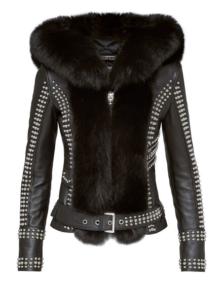 Leather Biker Fur and studs