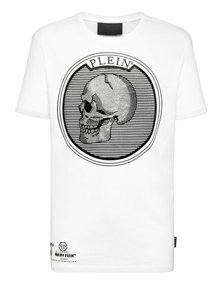 T-shirt Round Neck SS Outline Skull crystal