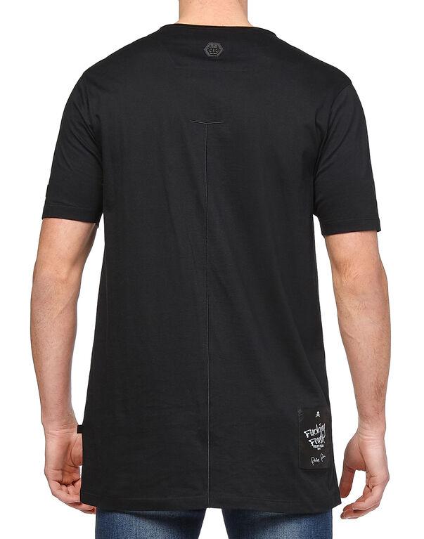 """T-shirt Black Cut Round Neck """"Always"""""""