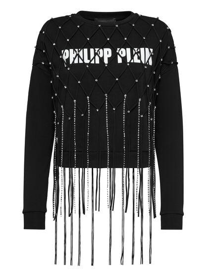 Sweatshirt LS Net Crystal Touch Fringe