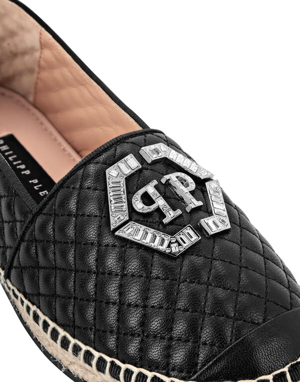 Leather matelassè Espadrillas Hexagon
