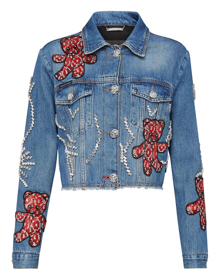 Denim Jacket Allover Teddy Bear