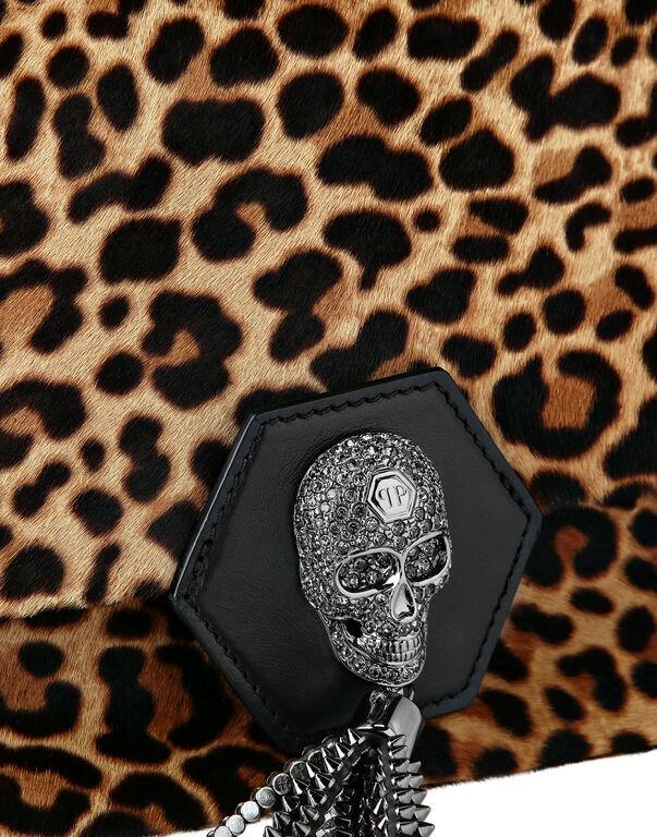 Shoulder Bag Skull Crystal Leopard