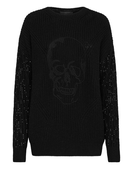 Cashmere 5 Pullover Round Neck LS Crystal Skull