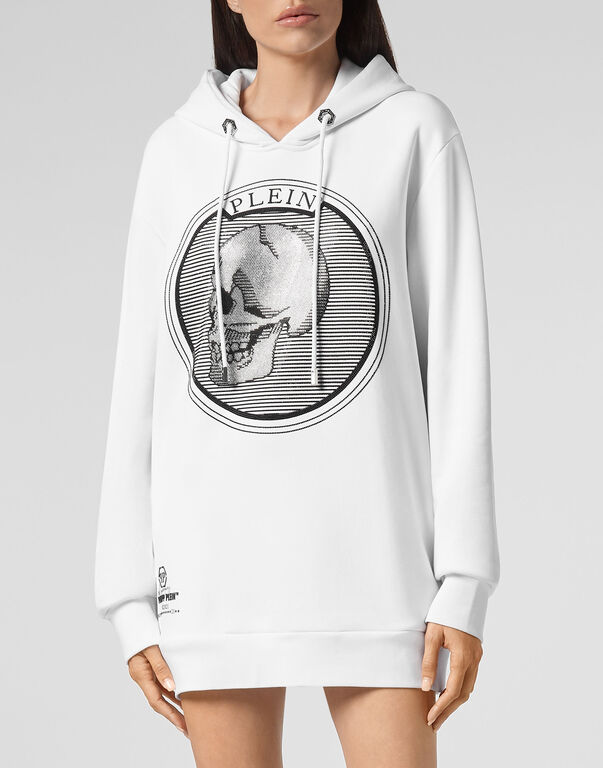 Hoodie sweatshirt Outline Skull crystal