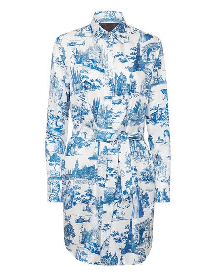 Silk Shirt Dress Printed En PLEIN air