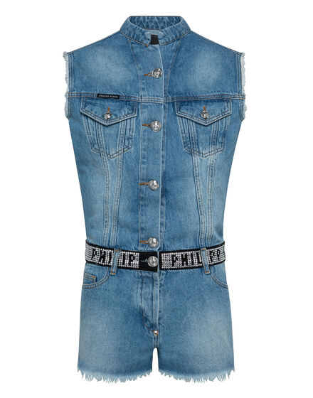 Denim Jumpsuit Crystal Plein