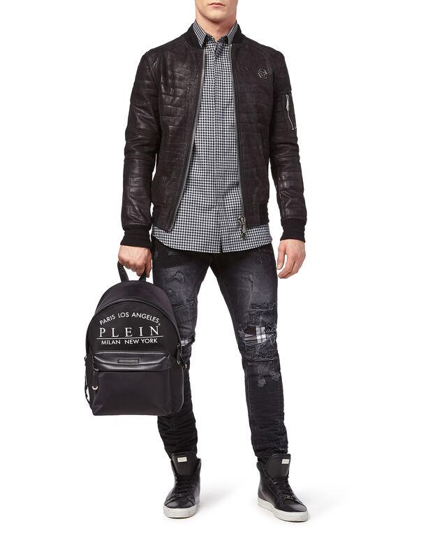 """Leather Bomber """"Back Crock"""""""