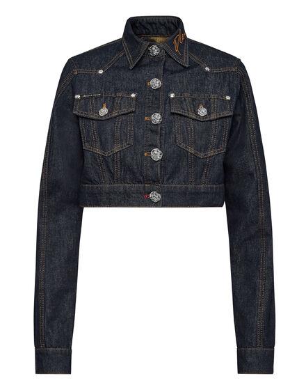 Denim Cropped Jacket Chains