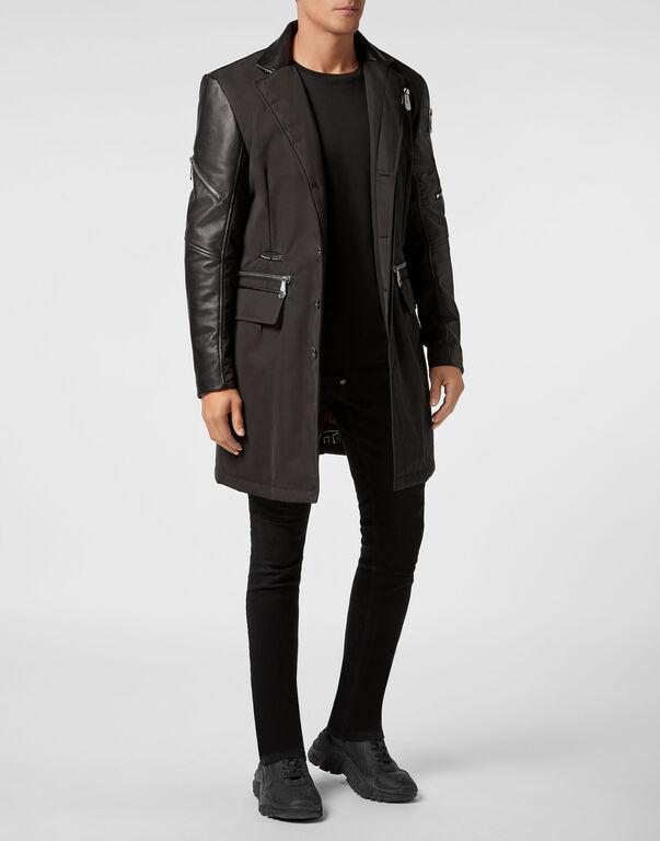 Nylon Coat Long Zipped