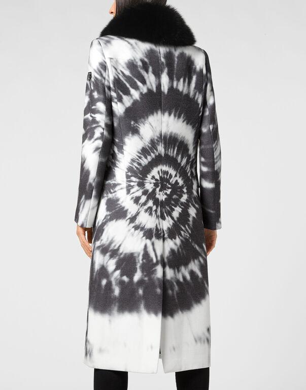 Cady Coat Long Fur Insert Tie dye