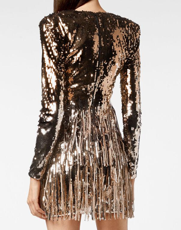 Short Dress Fringe Degradé Paillettes