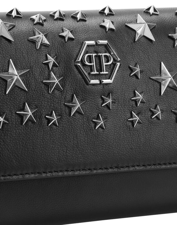 Leather Continental wallet studs Stars