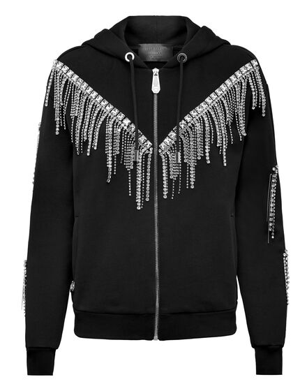 Hoodie Sweatjacket Crystal Fringe
