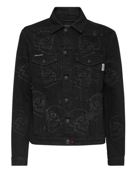 Denim Jacket Allover outline Skull