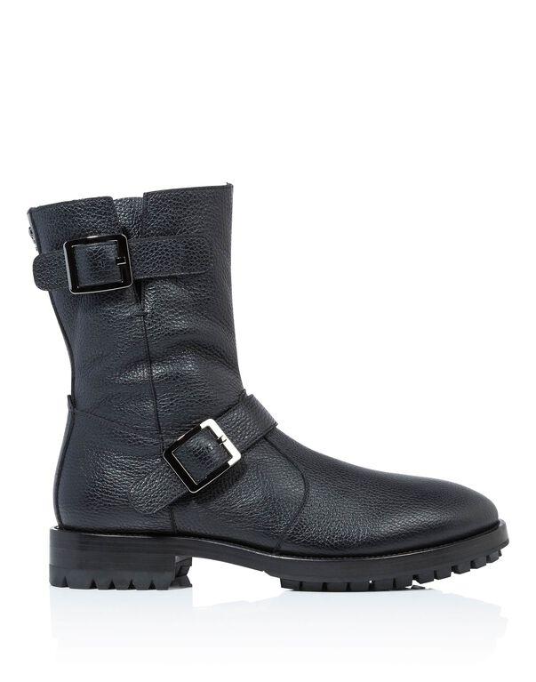 "Boots Low Flat ""skull blue"""