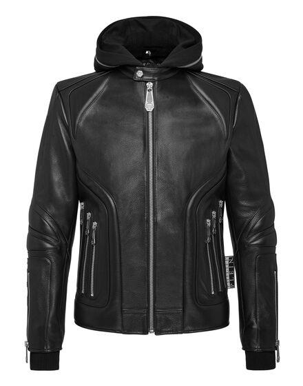 Leather Moto Jacket hoodie Statement