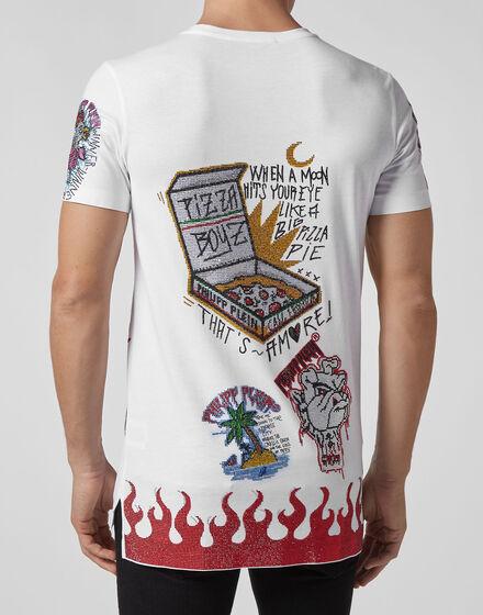 02855287788e ... T-shirt Black Cut Round Neck Pizza boy ...