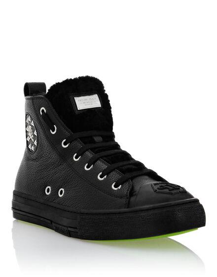 Leather Hi-Top Sneakers shearling lining Megastar