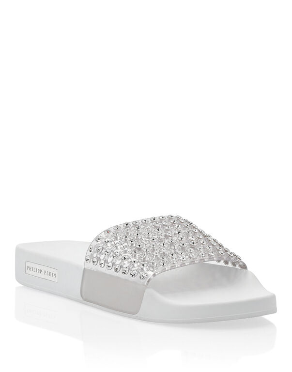 Flat gummy sandals Crystal