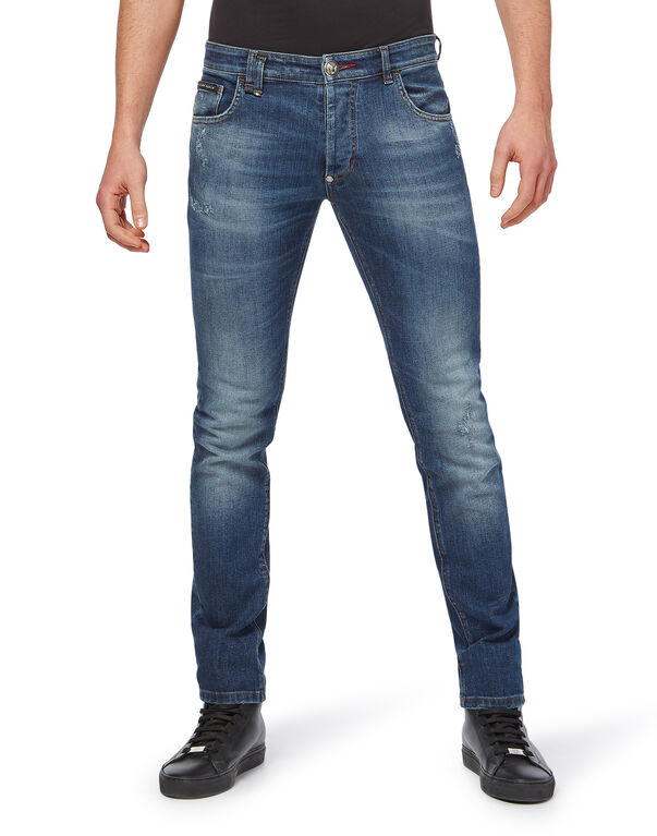 "Super Straight Cut ""Dirty denim"""