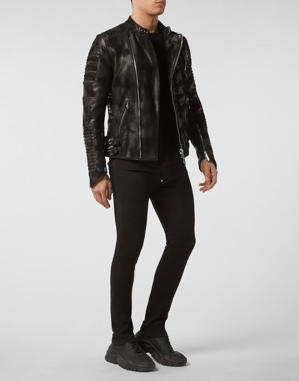 Leather Moto Jacket Skull