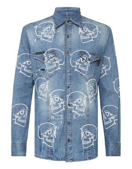 Denim Shirt Ls Allover outline Skull