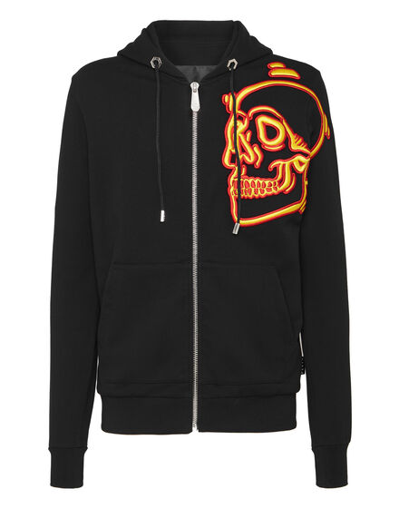 Hoodie Sweatjacket Outline Skull
