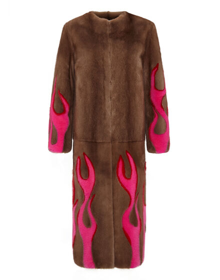Hell Flames Intarsia Mink Fur Long Coat
