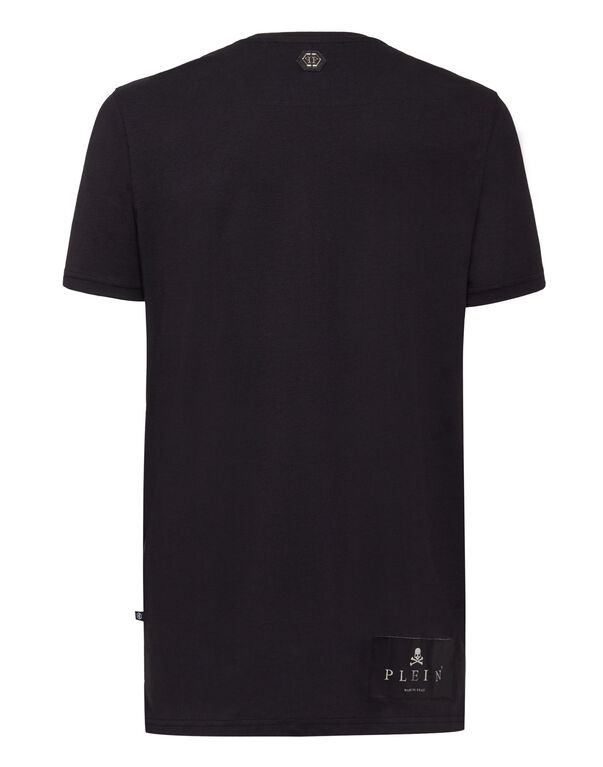 "T-shirt Black Cut Round Neck ""Talk"""