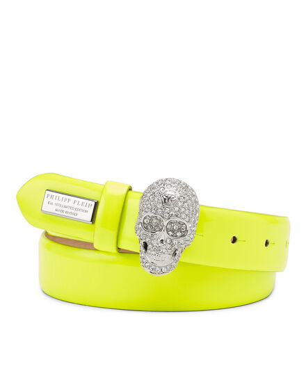 Patent Leather Belt Skull