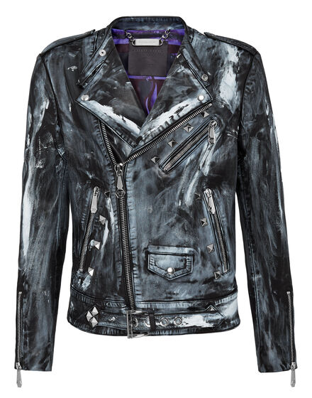 Leather Biker Skull on fire