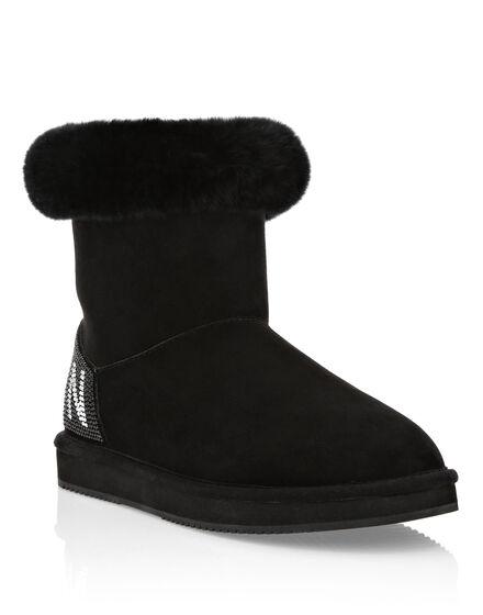 Boots Low Flat Crystal Plein