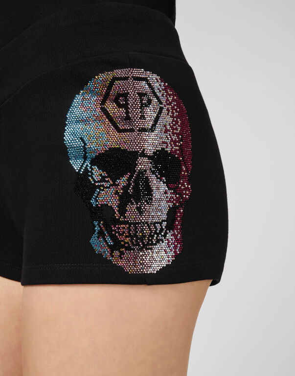 Jogging Shorts Rainbow Skull strass