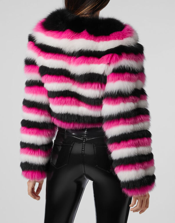 Fur Coat Short Stripes