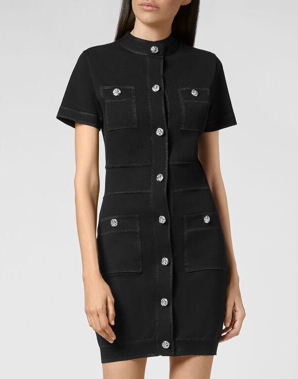 Wool Short Dress Lurex