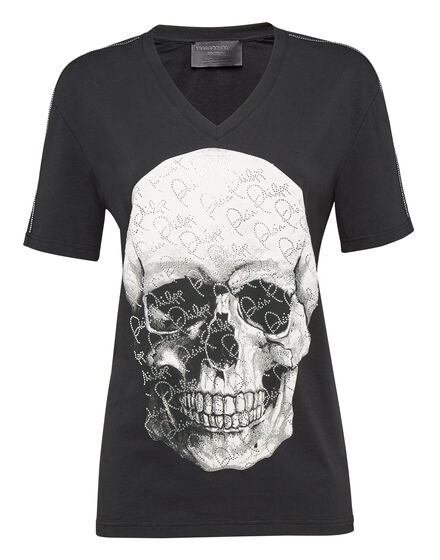 T-shirt V-Neck SS Crystal and Skull