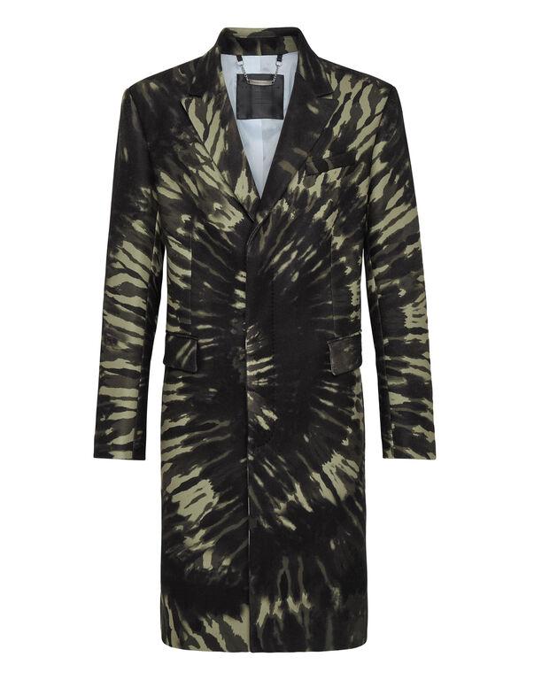 Mohair Coat Long Tie dye