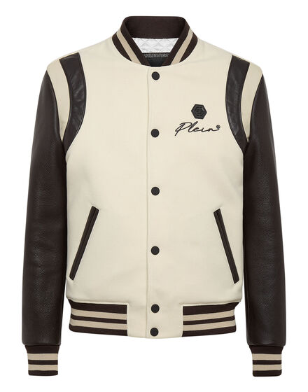 Wool and Leather Bomber Embroidery Signature