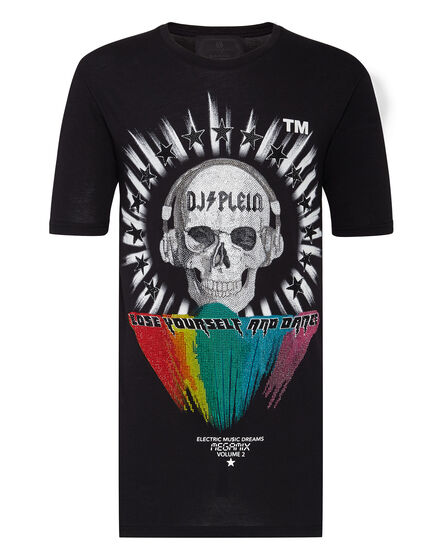 T-shirt Black Cut Round Neck DJ Plein