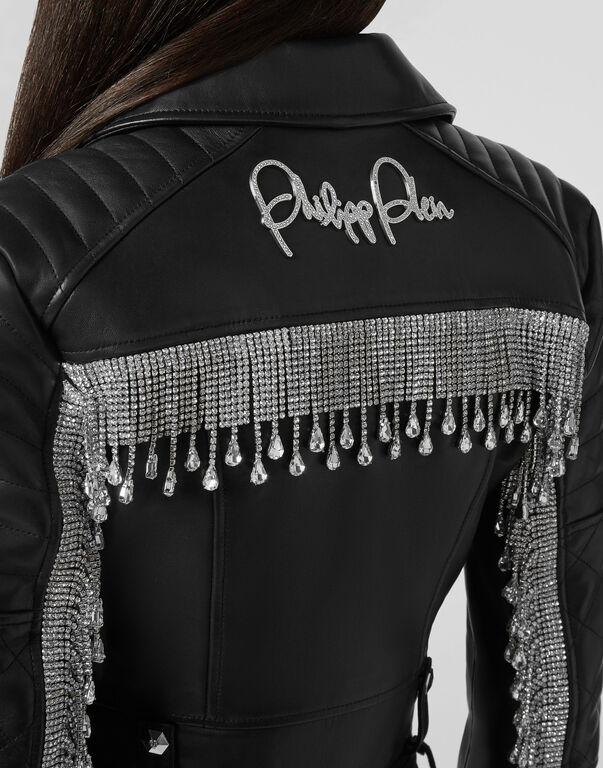 Leather Biker Crystal Fringe