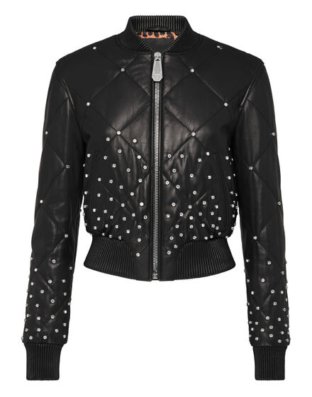 Leather Bomber Stardust Crystal Plein