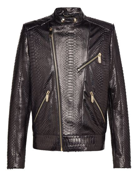 Leather Moto Jacket Python car