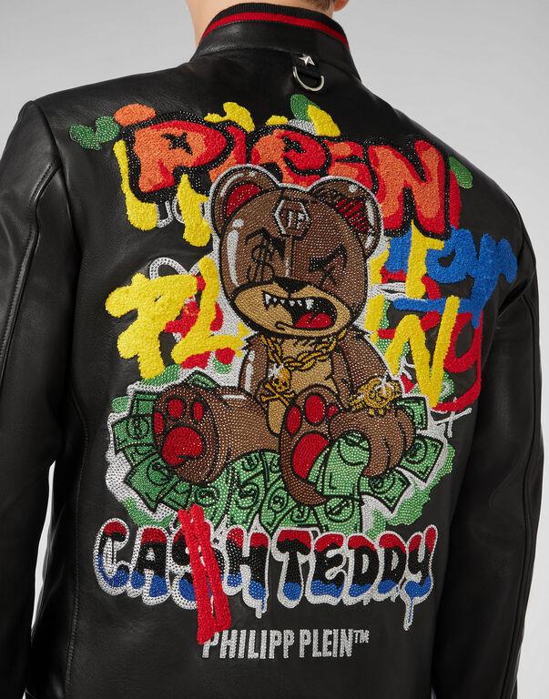 Leather Bomber Teddy Bear