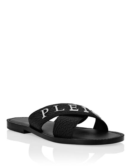 Leather Sandals Flat Iconic Plein