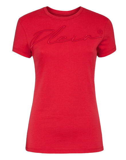 Satin T-shirt Round Neck SS Embroidery Signature