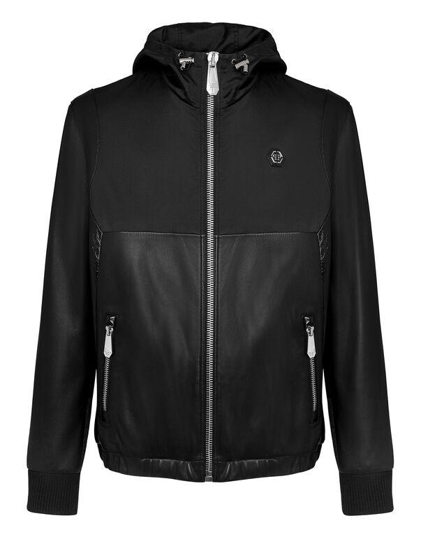 Soft Leather and Nylon Jacket Signature