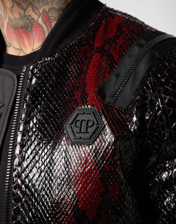 Leather Bomber Python Zipped