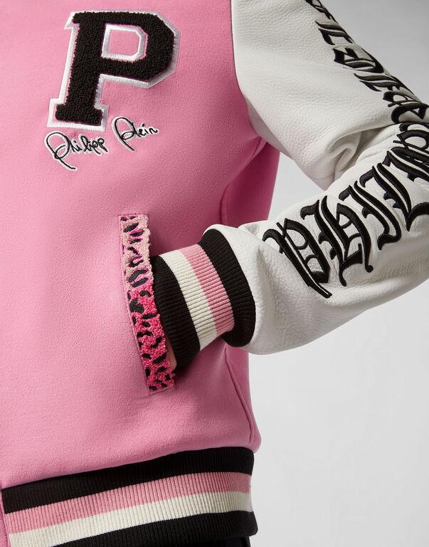 Leather Bomber Pink paradise