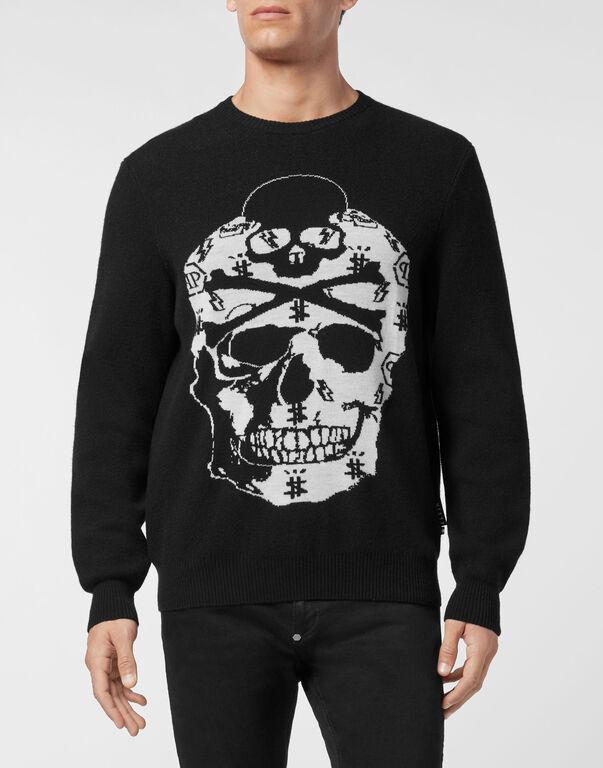 Merino wool Pullover Round Neck LS Jacquard Skull